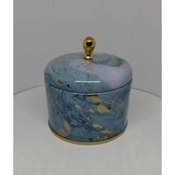 Lata redonda con tapa simil marmol con detalles dorado