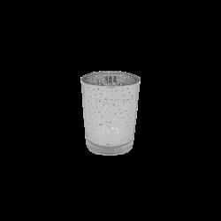 Porta vela de vidrio plateado espejado chico