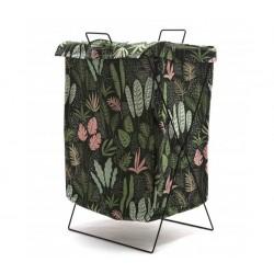 1- Canasto de tela plegable con tapa - estampado hojas