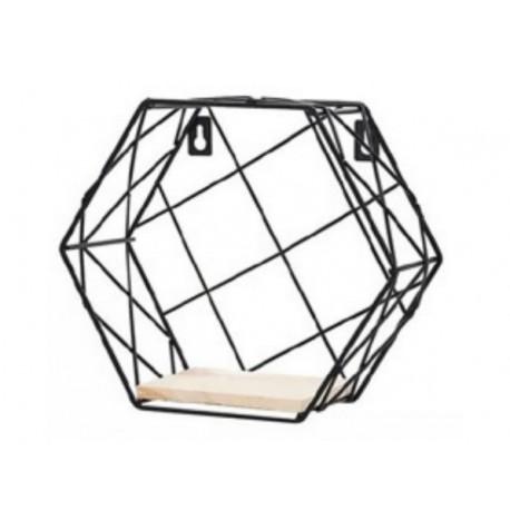1- Repisa de metal negro con estante de madera Hexagonal