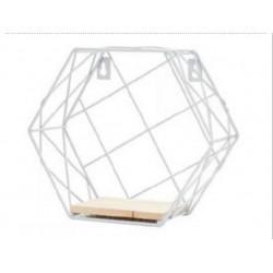 1- Repisa de metal blanco con estante de madera Hexagonal