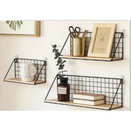 1- Repisa de metal rectangular con estante de madera - Set x 3