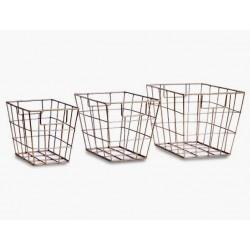 1- Canasto de metal rectangular dorado - set x 3