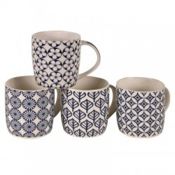 Mug de porcelana azul y blanca con flores