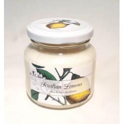 1- Vela aromatica de soja en frasco de vidrio con tapa  - Sicilian Lemons -