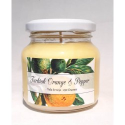1- Vela aromatica de soja en frasco de vidrio con tapa  - Orange & Pepper -