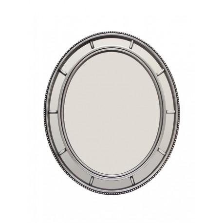 Espejo oval plateado con divisiones