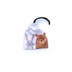 Bolsa chica de tela estampada - Oso y conejo