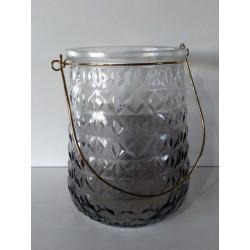 Fanal de vidrio con relieve Rombos