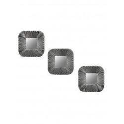 Espejo cuadrado negro y plateado gastado - set x 3