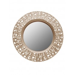 1- Espejo redondo dorado calado 50cm diam.