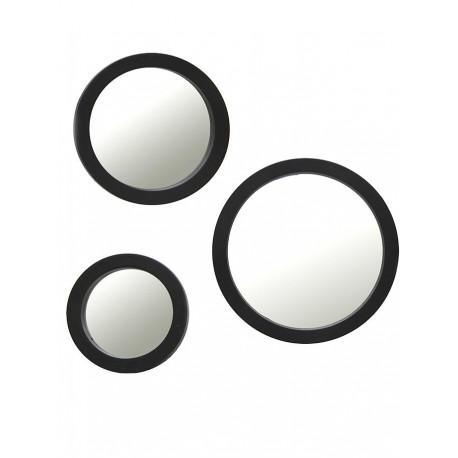 1- Espejo redondo negro en 3 medidas - set x 3