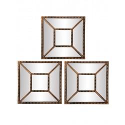 1- Espejo cuadrado cobre con divisiones - set x 3
