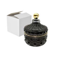 1- Caramelera vidrio redonda negro con detalle dorado Queen