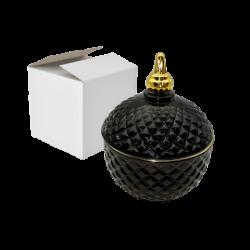 1- Caramelera vidrio redonda negro con detalle dorado Princess