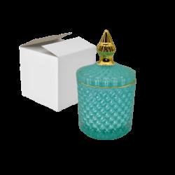 1- Caramelera vidrio redonda aqua y dorado Monaco