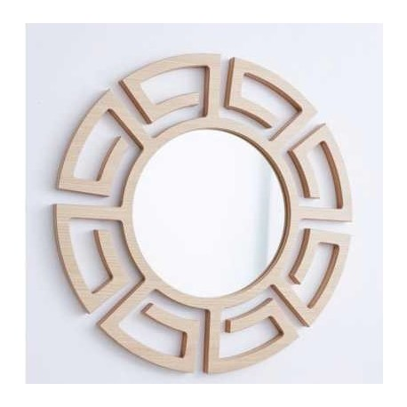 1- Espejo Azteca roble - 50cm diametro