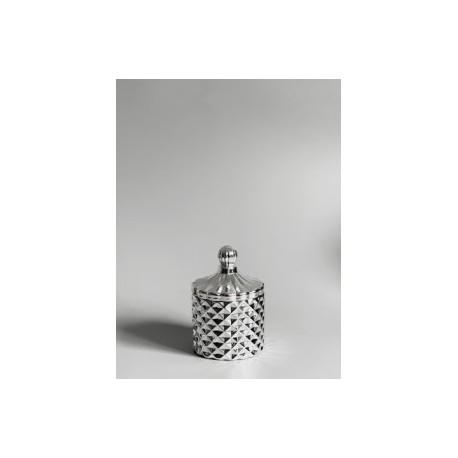 1- Caramelera mini de vidrio con relieve plateado