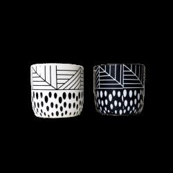 Maceta de ceramica blanca y negra surtidas - 9x10cm