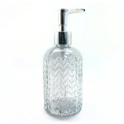 Dispenser de vidrio para jabon con relieve espiga - plateado