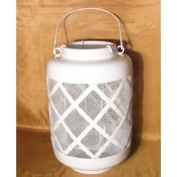 Fanal de metal blanco calado grande vintage con porta vela de vidrio