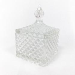 """Caramelera de vidrio cuadrada """"safiro"""" - 7x7x9cm"""